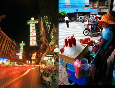 夜になると、街は屋台で活気に沸く(左)。チャイナタウン以外ではあまり見かけないザクロジュース。味は?