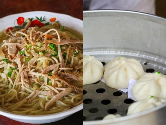雲南拉麺と包子。ここでしか体験できない極上の味だ。