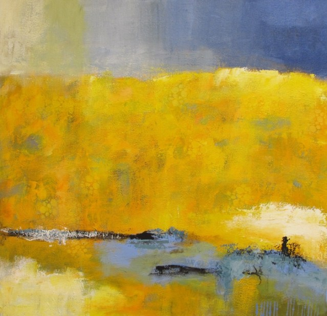 This is an abstract landscape of California poppies all ready for shipping.