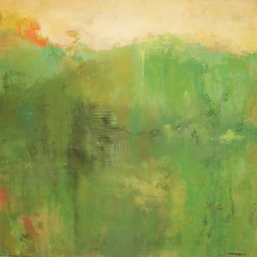 painting by Ann Hart Marquis showing tones of green.