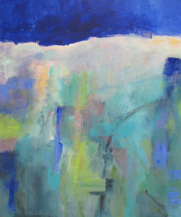 abstract landscape painting of dark blue sky.