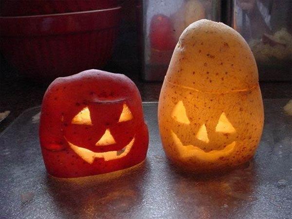 carve-a potato jack o lantern for halloween