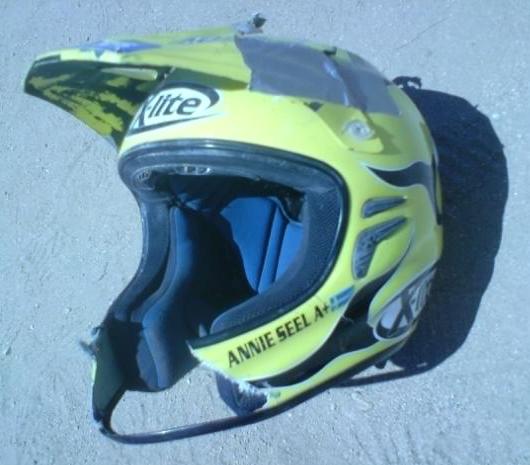 Annies broken helmet