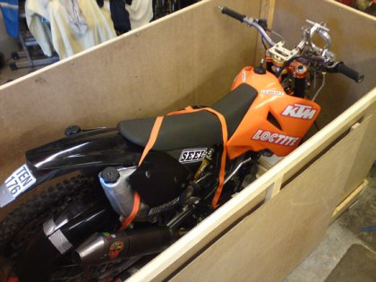 A box for shipping the bike