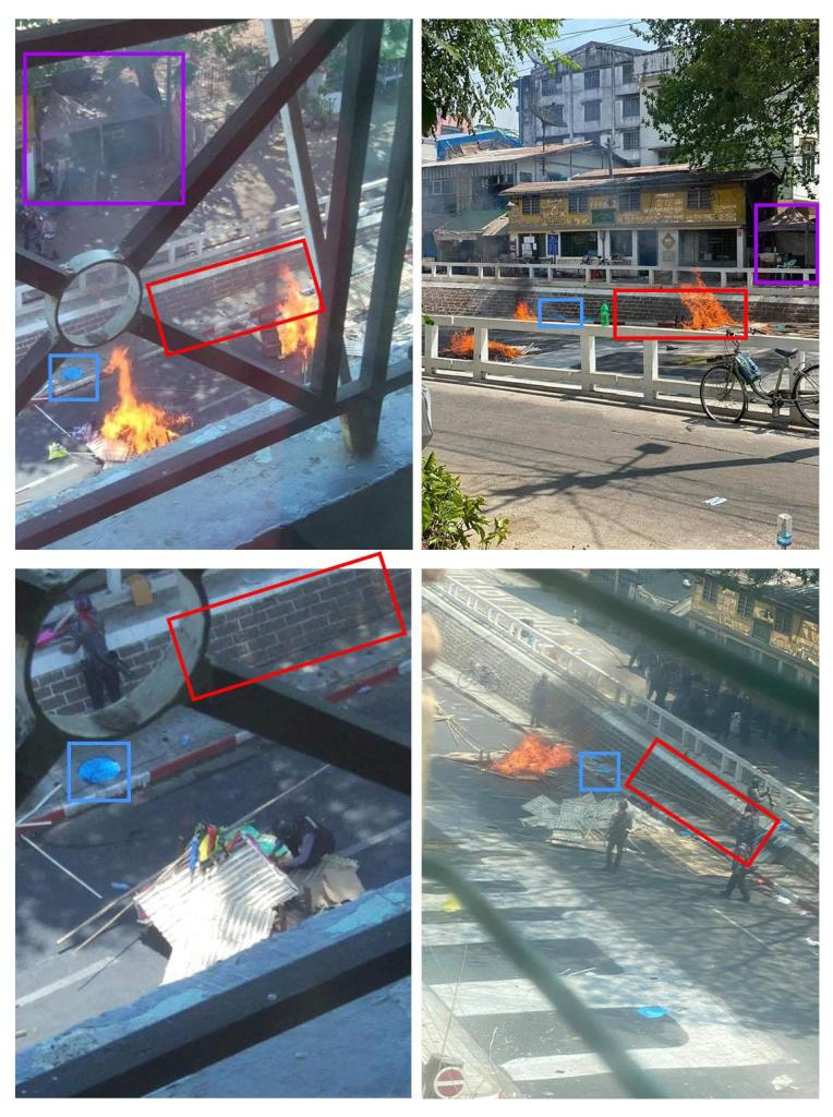 Comparison of images taken at Bargayar road and those claiming to depict arson