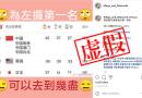 虛假:奧運獎牌榜中國42金登頂截圖實遭篡改