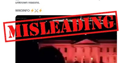 """Screenshot of a tweet claiming 'the White House turned red this mornign for unknown reasons"""" with a """"misleading"""" label on top of it."""