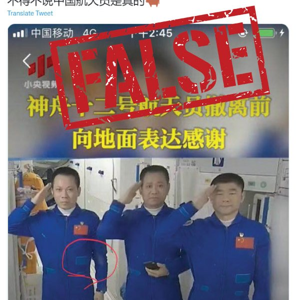 False: 'Falling dust,' mobile phones and haircut do not prove Chinese astronauts are not in space