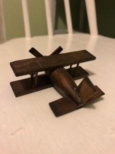 1980s miniature toy bi-plane