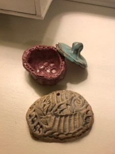Dish with lid and Fish pottery