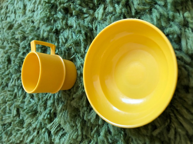 Yellow Vintage Toy Tupperware Cup and Bowl