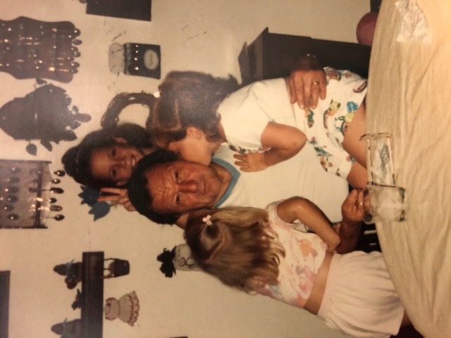 My sisters and I with Grandpa George