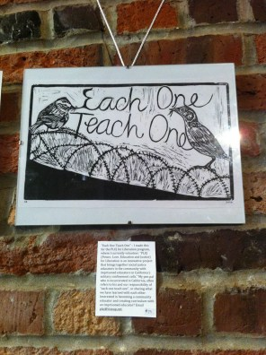 """""""Each One Teach One"""" – I made this for the PLEJ for Liberation program, where I currently volunteer. """"PLEJ (Power, Love, Education and Justice) for Liberation is an innovative project that brings together social justice educators in the community with imprisoned educators in California's solitary confinement cells."""" My pen pal who is incarcerated in California, often refers to his and our responsibility of """"each one teach one"""", or sharing what we have learned with each other. Interested in becoming a community educator and creating curriculum with an imprisoned educator? Email plej@riseup.net."""