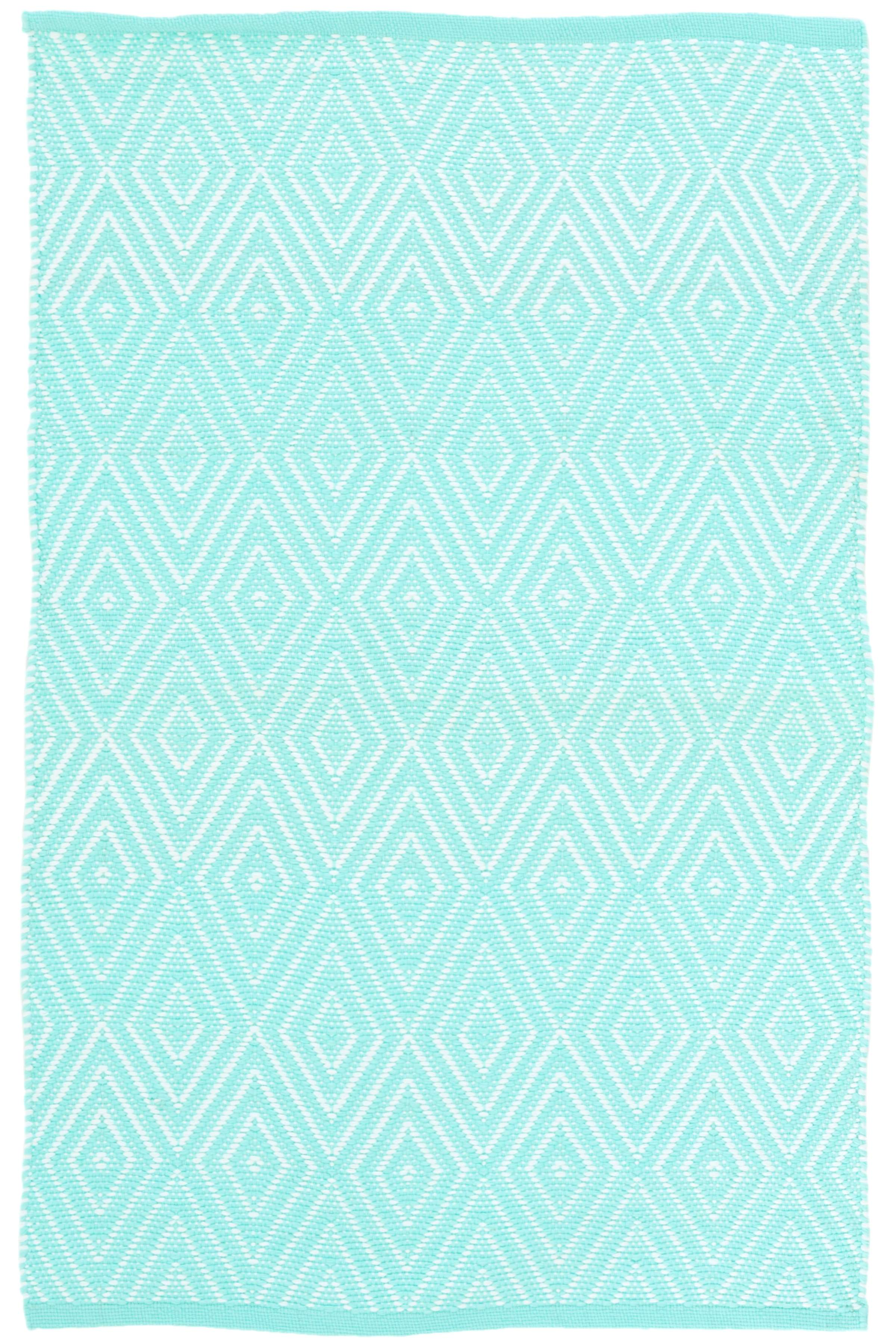 Diamond Aqua White Indoor Outdoor Rug The Outlet