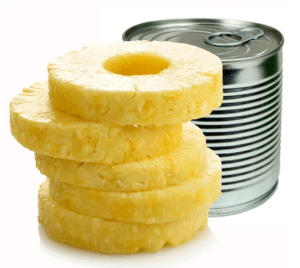 Canned sliced pineapple in light syrup