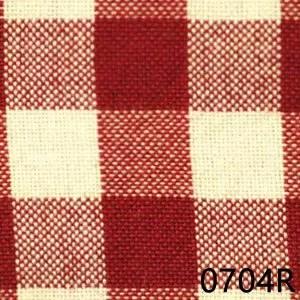 Red Cream Small Check Plaid Homespun Fabric