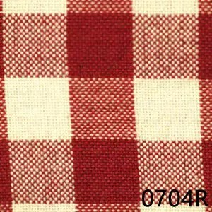 Red Cream Small Check Plaid Homespun Fabric