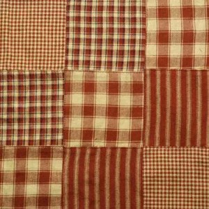Red Patchwork Homespun Fabric