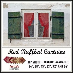 ruffled curtains red fabrics homespun