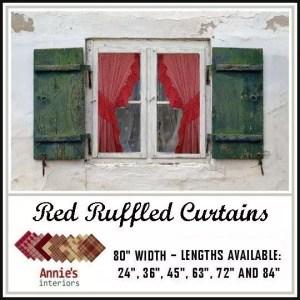 ruffled curtains red fabrics homespun