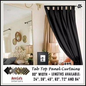 TAB TOP PANEL CURTAINS BLACK COUNTRY FABRICS