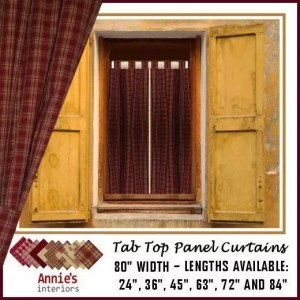 TAB TOP PANEL CURTAINS RED COUNTRY FABRICS