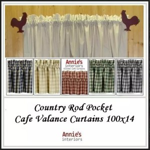 Country Rod Pocket Cafe Valance Curtains 100x14