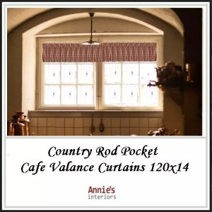 Country Rod Pocket Cafe Valance Curtains 120x14