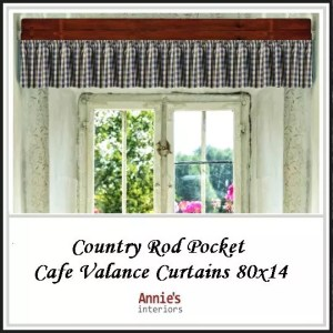 Country Rod Pocket Cafe Valance Curtains 80x14