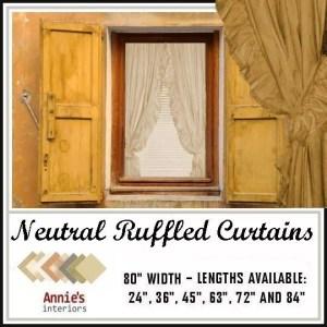 RUFFLED CURTAINS NEUTRAL COUNTRY FABRICS