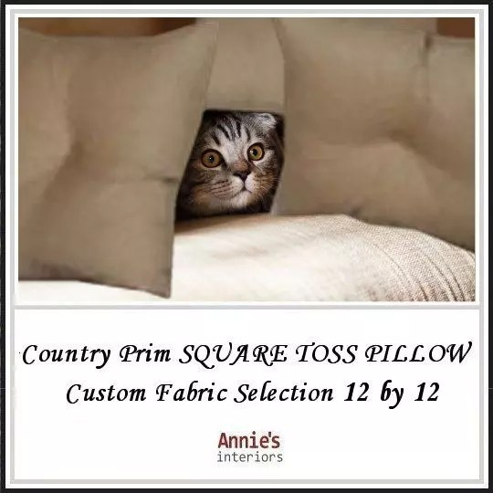 Country-Prim-SQUARE-TOSS-PILLOW-Custom-Fabric-Selection-12-by-12