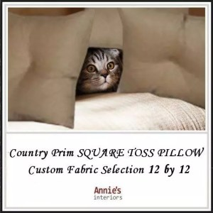 Country Prim SQUARE TOSS PILLOW 12 by 12