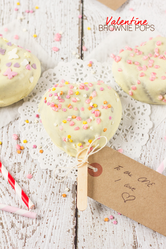 I took my favourite ever brownie batter and baked it into cute little hearts to create these Valentine Brownie Pops! Dunked into melted white chocolate and decorated to your heart's content, your Valentine will love these individual sized pops!