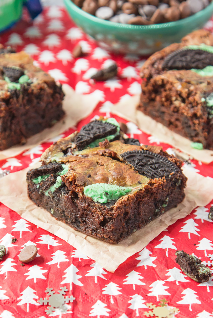 Thick, fudgy double chocolate brownies filled with crushed Mint Oreo's. A super decadent festive treat the whole family will love!