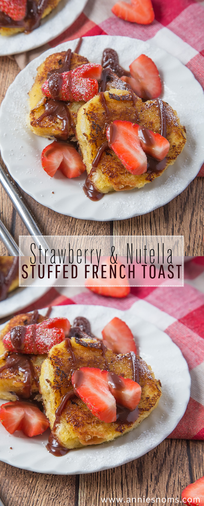 This Mini Strawberry and Nutella Stuffed French Toast is cute, fun to make and the perfect Valentine's Day breakfast for the one you love! #ad