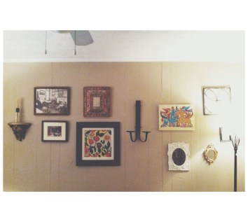 my favorite little wall in my home, full of thrift finds and unique photos