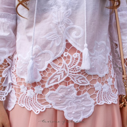 Soft Pink Chiffon & Delicate Floral Cutouts