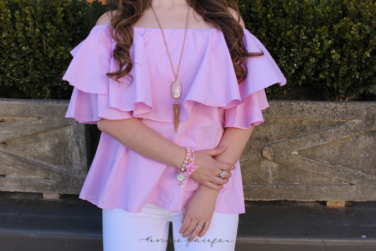 Pink Ruffle Off the Shoulder Top