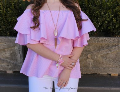 $16 Pink Ruffle Off the Shoulder Top