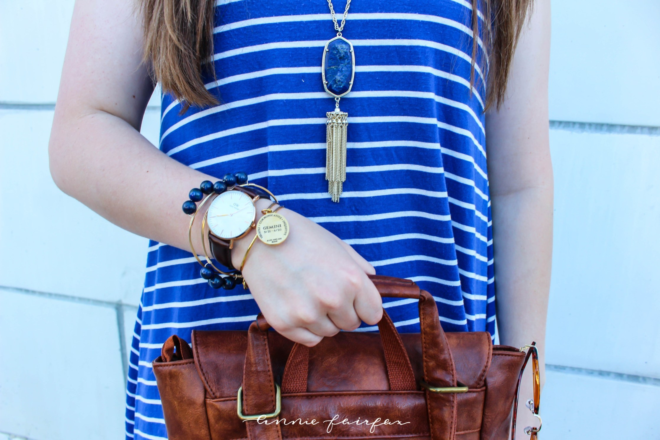 Blue Geminie Celestial Lapis Lazuli Outfit Romwe Striped Dress Daniel Wellington Alex & Ani Leather Backpack