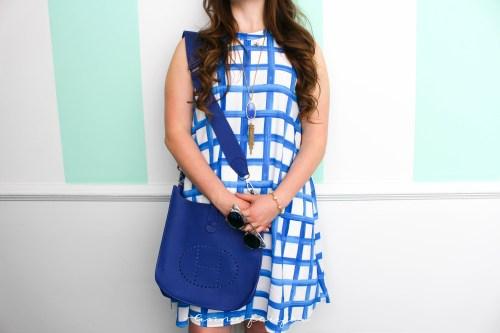 Blue Painted MudPie Dress Hermes Bag Kendra Scott Necklace
