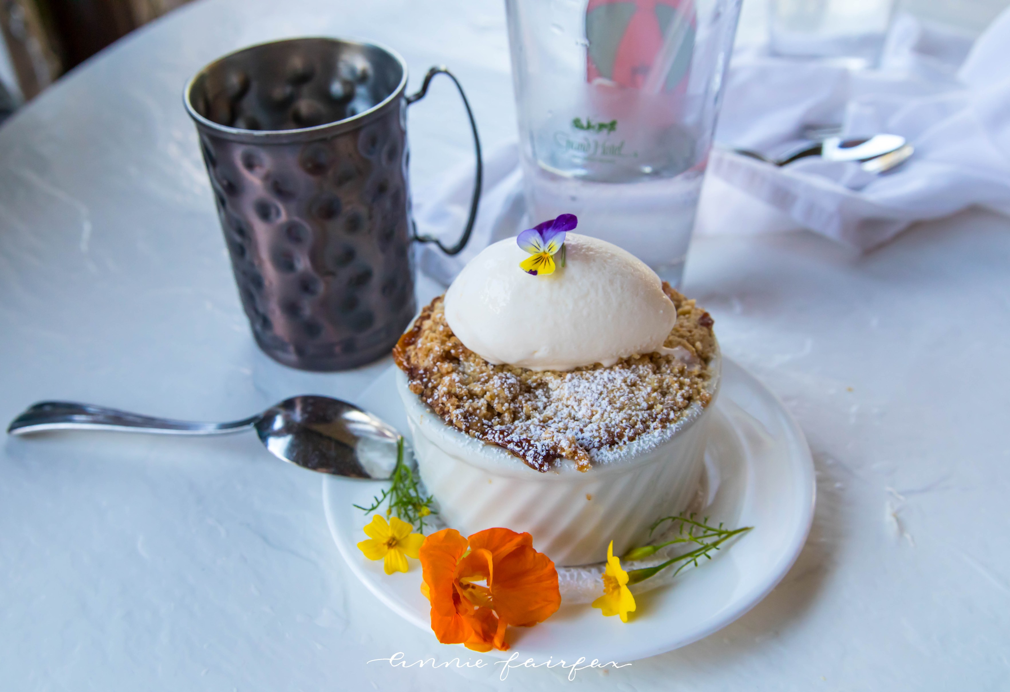 Peach Cobbler Jockey Club Restaurant Grand Hotel Mackinac Island Grand Hotel Dining 5 Course Dinner Mackinac Island