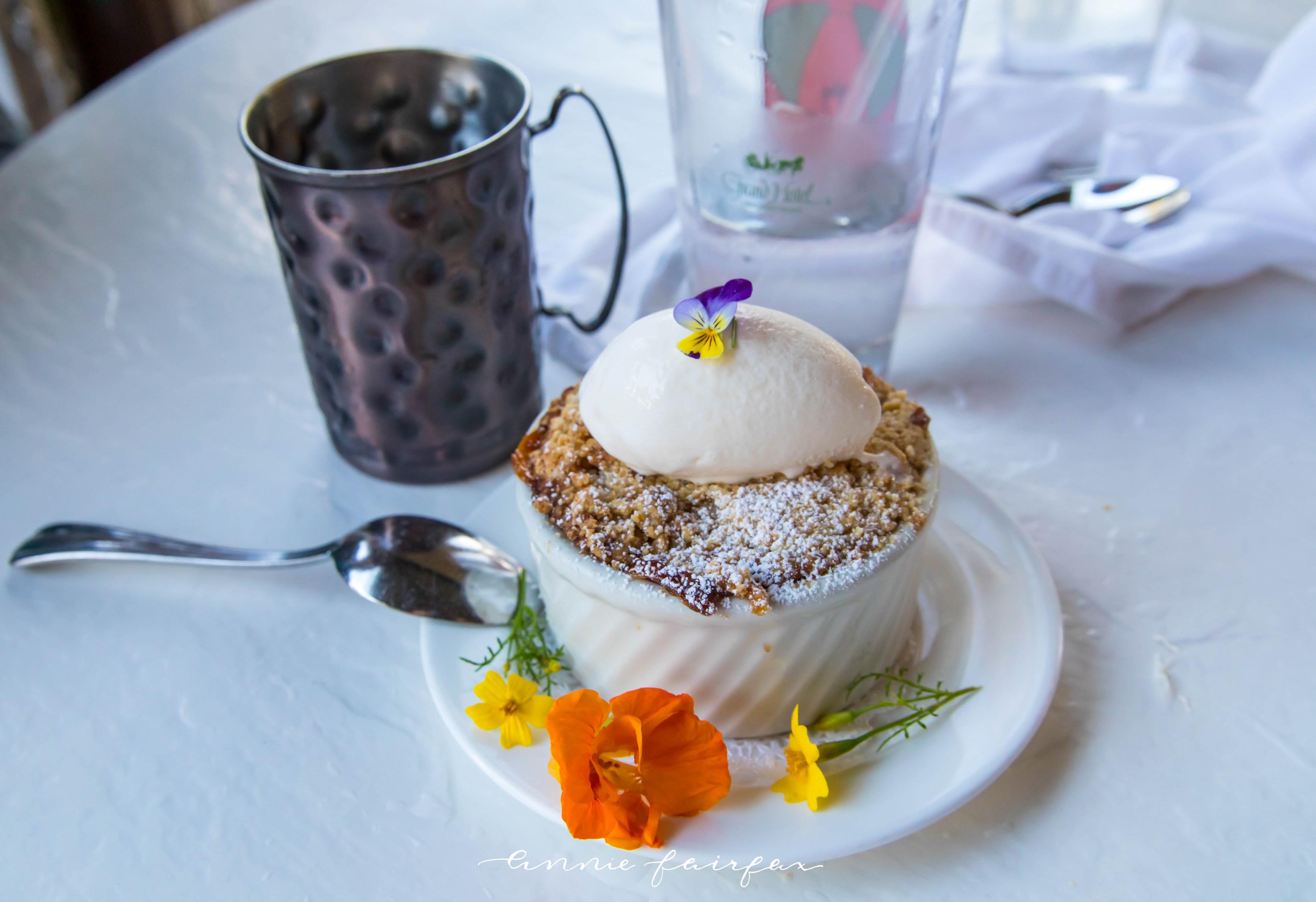 Peach Cobbler Jockey Club Restaurant Grand Hotel Mackinac Island Grand Hotel Dining 5 Course Dinner Mackinac Island