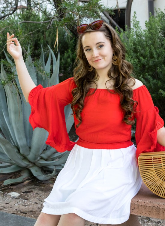 $16 Red Ruffled Top and Basket Bag in Sonora, Mexico