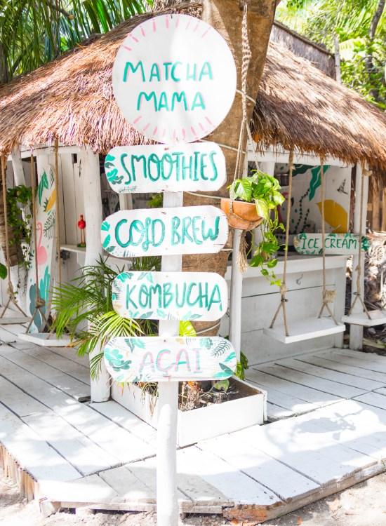 Matcha Mama Tulum Smoothie Bowls Vegan Vegetarian Local Kombucha Raw Organic Tulum Mexico Restaurant with Swings
