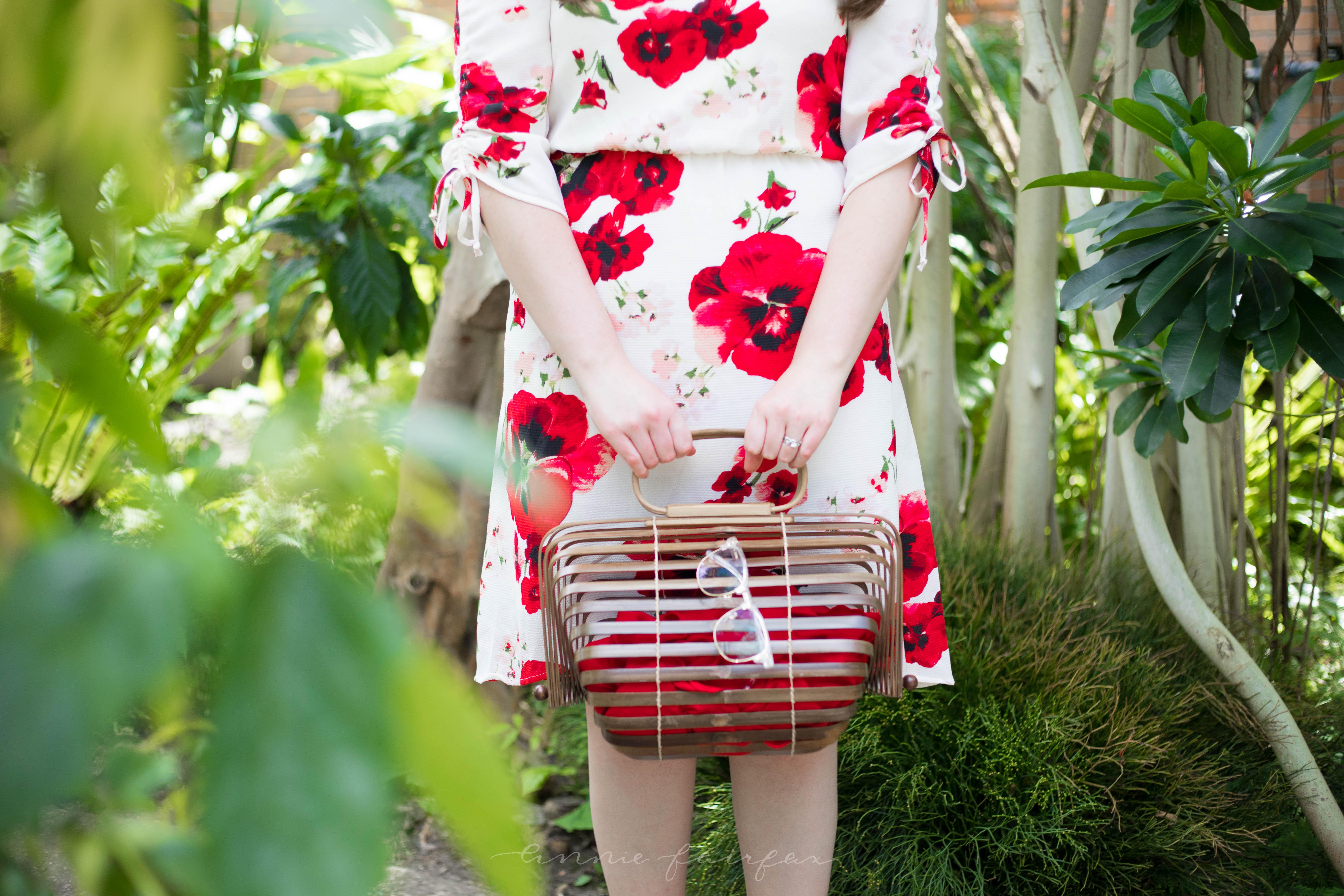 Bobeau Ember Ruch Sleeve Red Floral Print Dress Vintage Japanese Picnic Basket Palm Beach Sandals