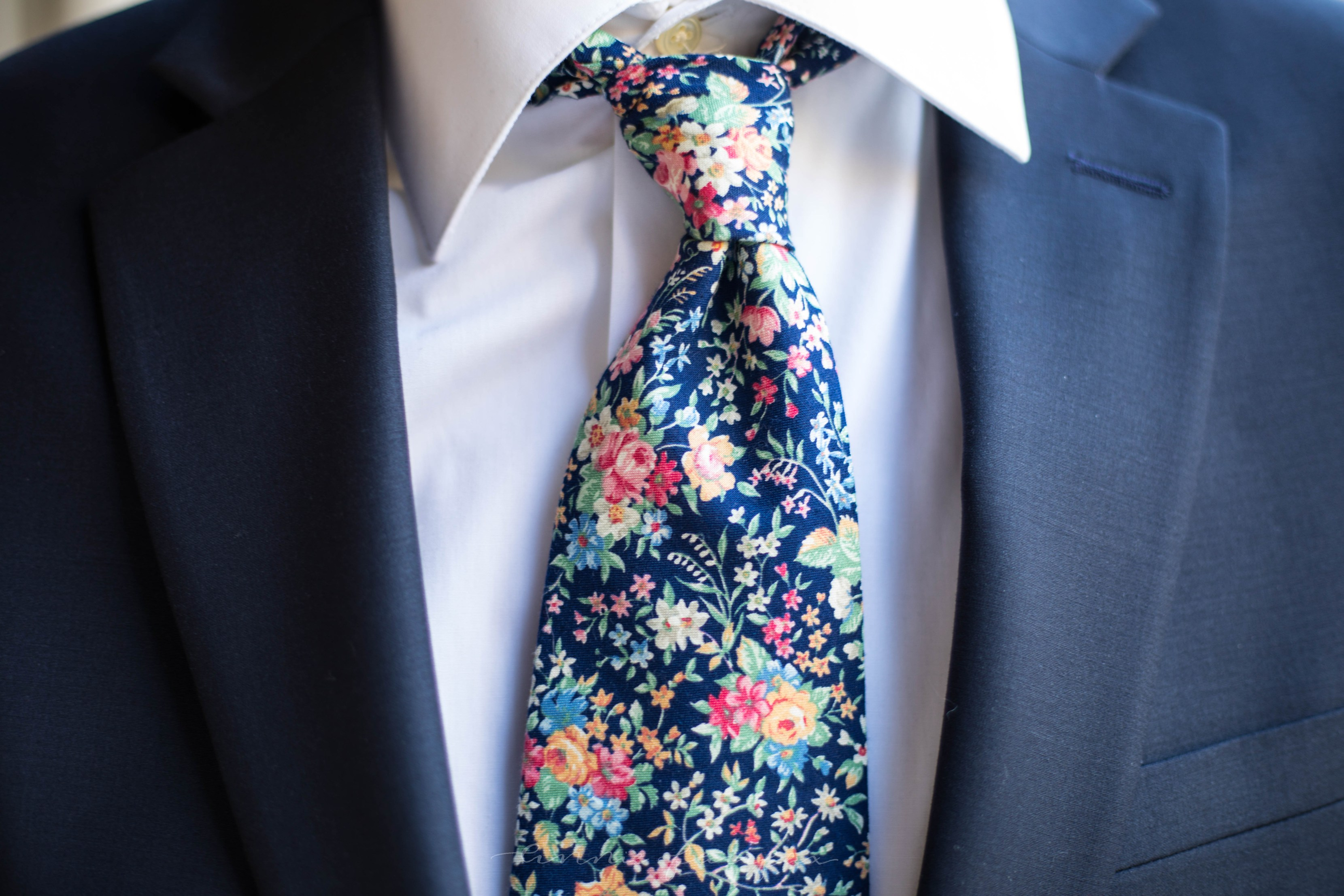 Men's Navy Suiting and Floral Tie for Spring