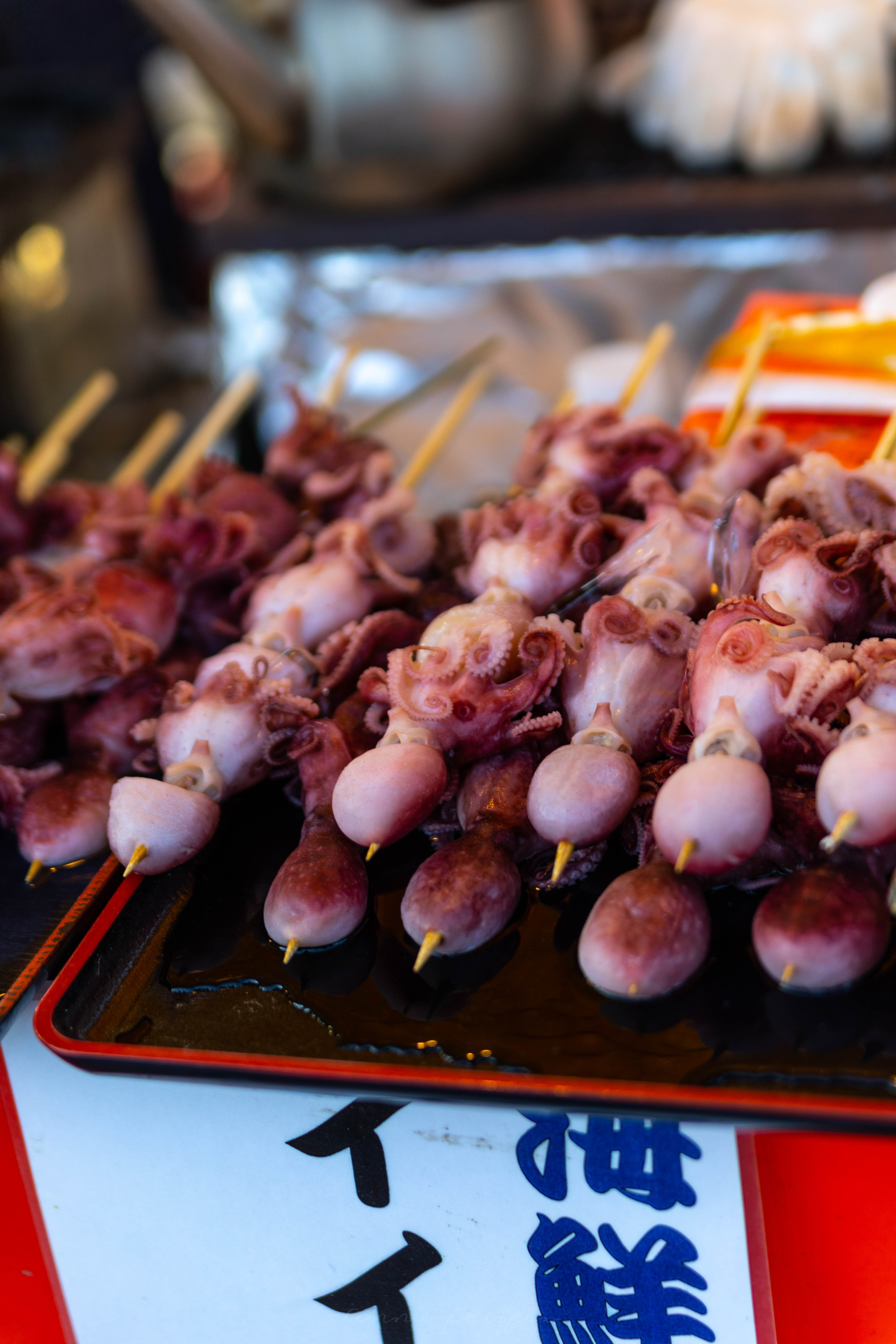 Japanese Festival Food, Octopus on a Stick in Ueno Tokyo, Japan by Annie Fairfax