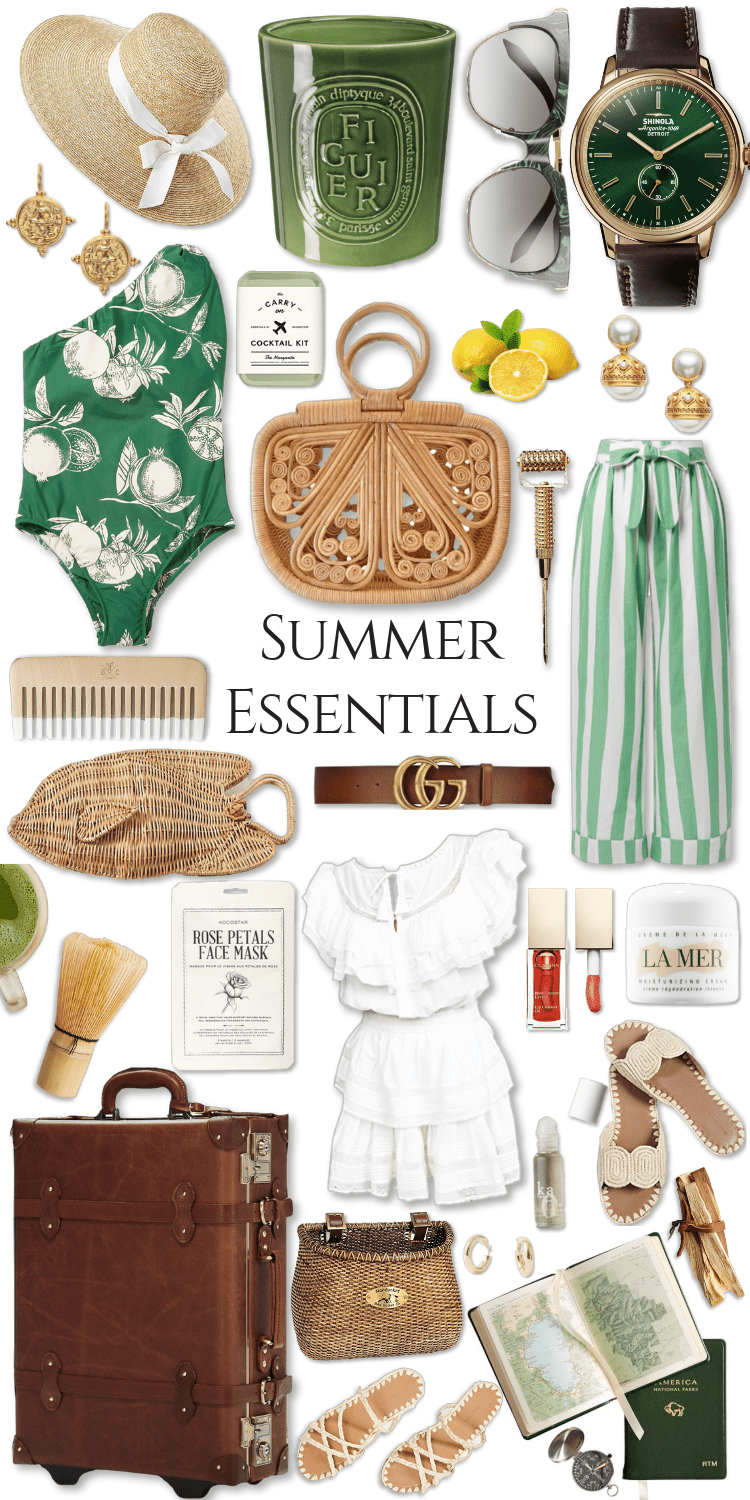 Summer Essentials Vol 1 by Annie Fairfax Wicker Baskets Vintage Green Summer Botanical Fruit Prints Nautical Style Summer Outfits Lookbook