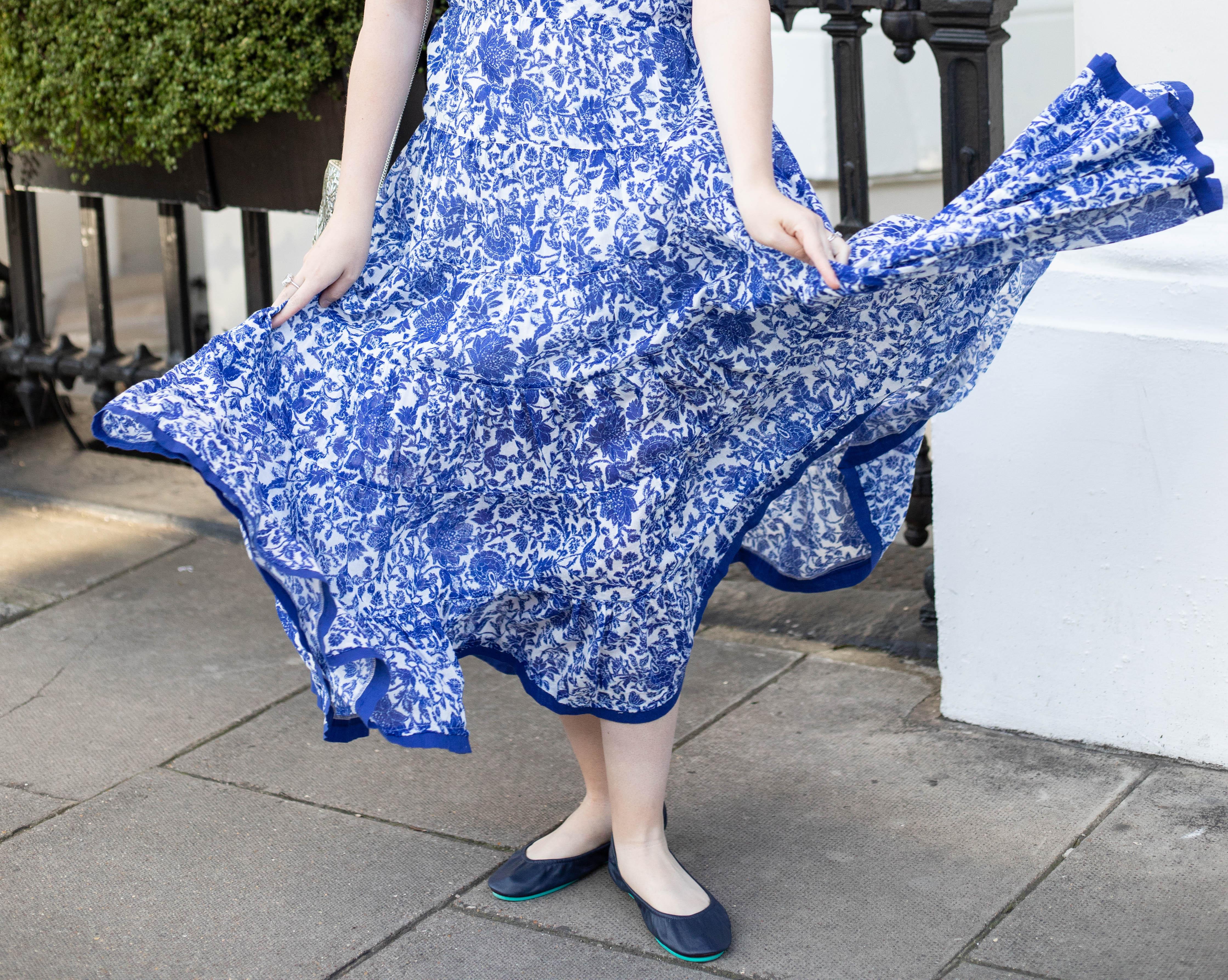 Blue and White Free People Dress California Navy Tieks Silver From St Xavier Handbag at London's Kensington Hotel